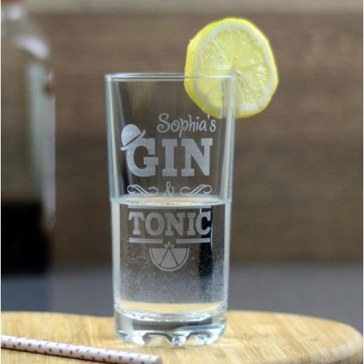 Gin And Tonic Personalised High Ball Glass - £17.95. With Gin and Tonic becoming the new 'must-have' tipple, no wonder our themed high ball glass has become an instant Pippins hit. Every day a new gin might hit the shops, but when it comes to what to drink it out of, we have the drinking vessel market licked.