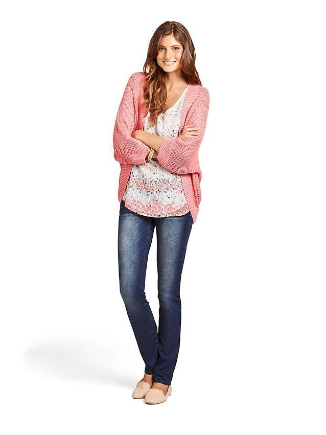 'India' 3/4 Cable Shrug & 'Nadia' Sleeveless Lace Print Tank with 'Livia' Slim Straight Jeans -
