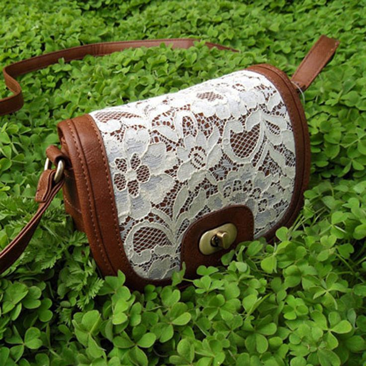 Cute White Lace Brown Cross Body Purse Small Bag