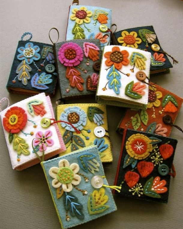 mini needle books or purse journals address book in felt and embroidery very cute would be great gift for folk ,floral or ethnic style loving mum on mothers day