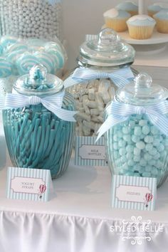 boy's hot air ballon themed christening candy jars dessert table www.spaceshipsa…