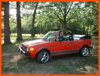"VW Rabbit convertible...not exactly same as mine but my ""summer toy""."