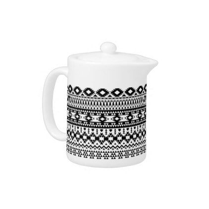 Boho flowers Black and White vector floral pattern Teapot - pattern sample design template diy cyo customize