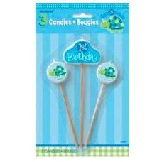 1st Birthday Turtle Pick Candles