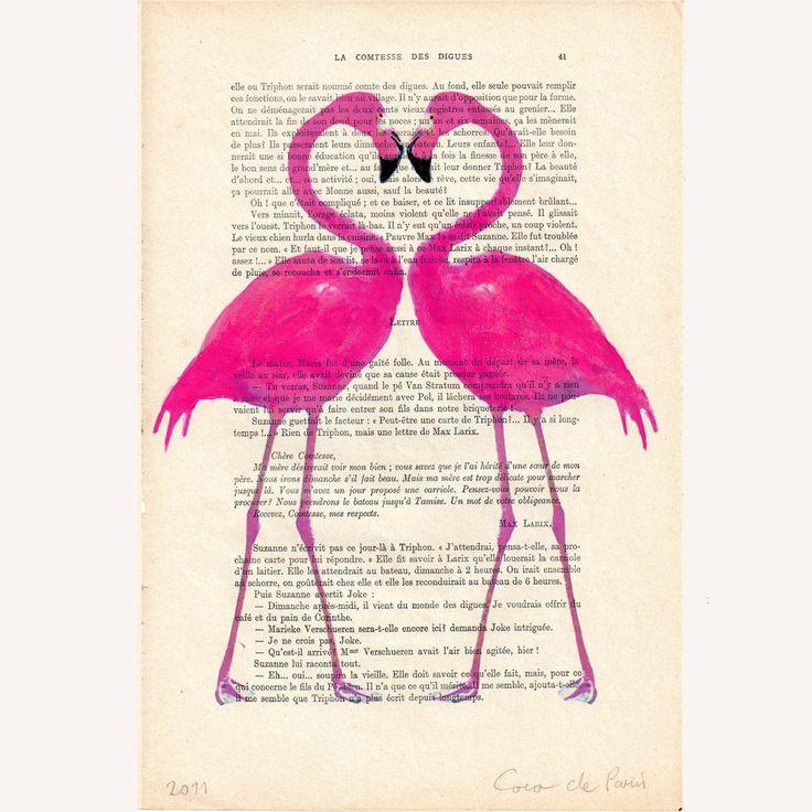 Flamingo heart- ORIGINAL ARTWORK Hand Painted Mixed Media on 1920 famous Parisien Magazine 'La Petit Illustration'. $10.00, via Etsy.
