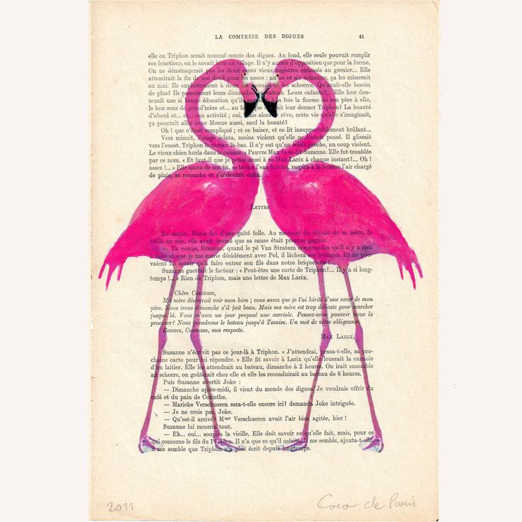 Flamingo heart- ORIGINAL ARTWORK Hand Painted Mixed Media on 1920 famous Parisien Magazine 'La Petit Illustration'. $10.00, via Etsy.