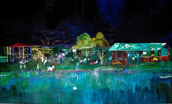 Music of the Future by Peter Doig. Magic Realism. landscape
