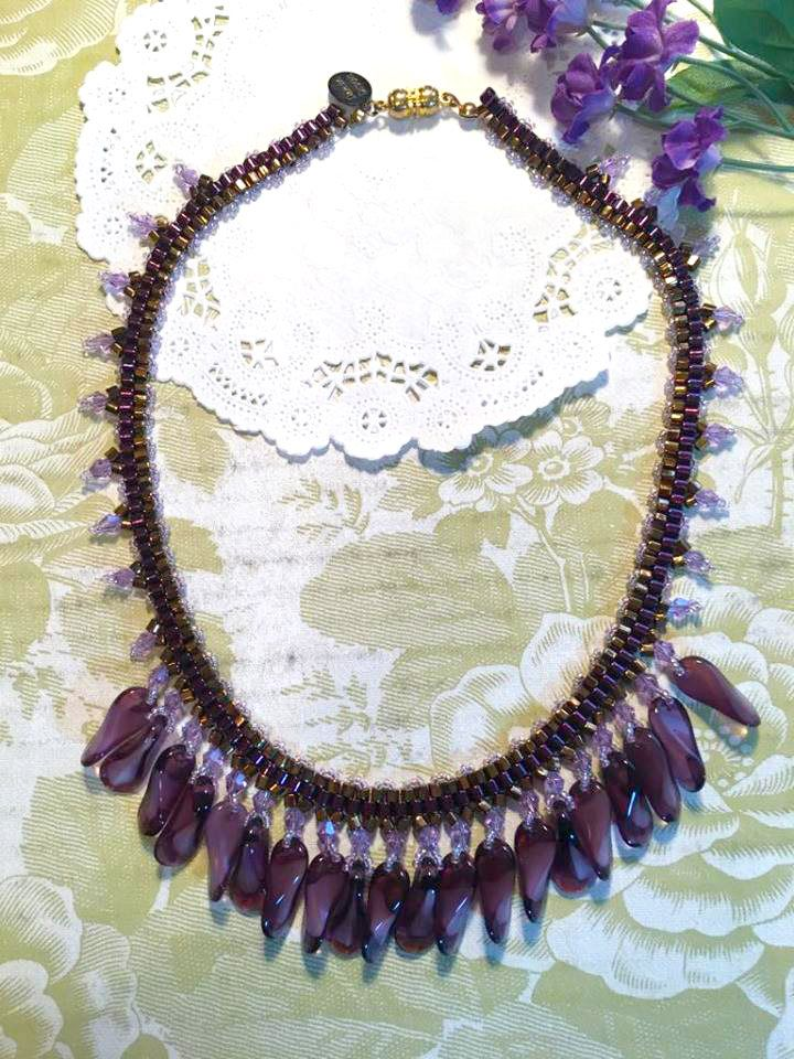 Falling Fringe Purple Bronze Vintage Purple Drops Copper Purple Hex Beads DarlingArtByValeri Custom Handmade Beaded Necklace by DarlingArtByValeri on Etsy