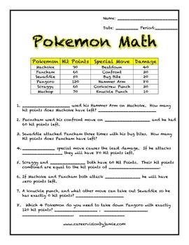 Pokemon Math End Of The Year Review Words Love And Charts