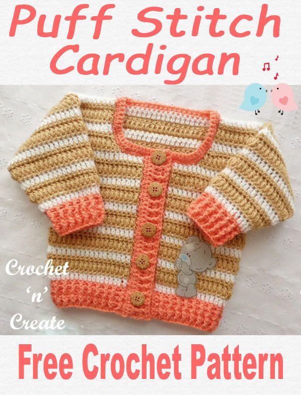 29404240266d Crochet Puff Stitch Cardigan Free Crochet Pattern