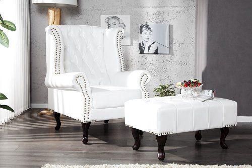 Design Chesterfield Ohrensessel Leder Optik weiss Sessel Siehe mehr unter http://www.woonio.de/p/design-chesterfield-ohrensessel-leder-optik-weiss-sessel/
