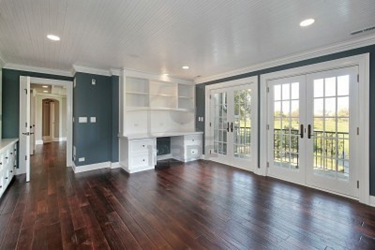 Love the paint color with the dark hardwood and white trim