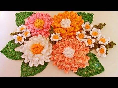 Como tejer fácil rápido ramo de margaritas para mamá-Make quick and easy knitting beautiful flowers - YouTube