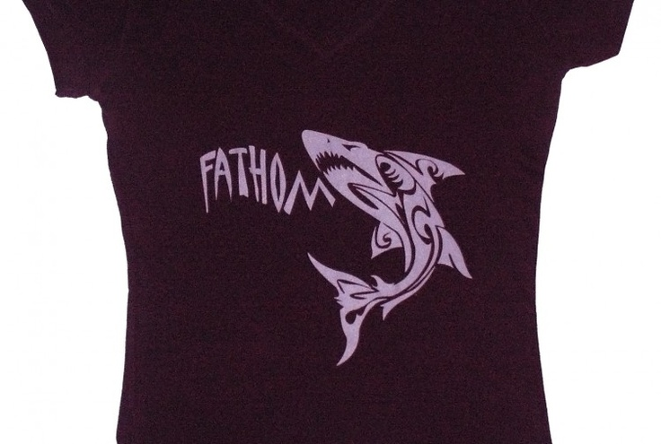 Women's silhouetted v-neck t-shirt fearing the trademarked Fathom Wear Shark. Design trademarked by Fathom Wear®