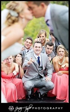 """cute staging, but dumb """"acting"""" / expressions by the wedding party...."""