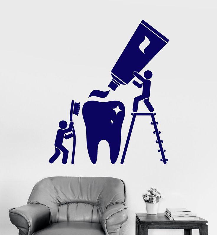 Vinyl Wall Decal Health Teeth Cleaning Dentist Bathroom Stickers (ig4663)