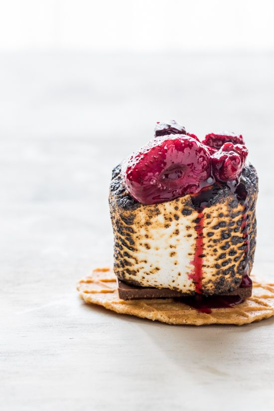 Roasted berry Campfire S'mores 1 quart fresh strawberries, hulled and quartered 1 pint fresh blueberries 1 pint fresh raspberries 1/3 cup sugar 1/2 vanilla bean, seeds rem...