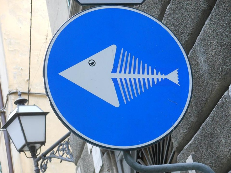 Clet Abraham street art blue circle fish signs