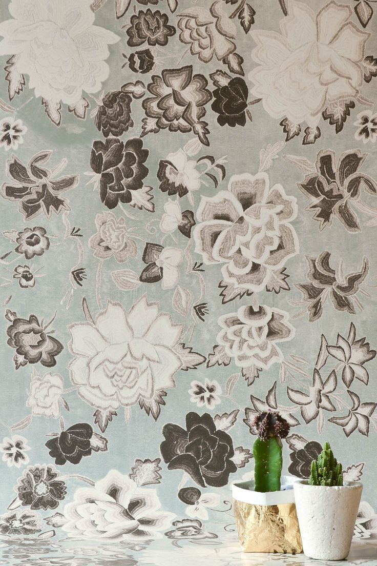 Frida Flowers Grey Wallpaper by WYNIL. The timeless look of embroidered fabric in your home or office. Super easy installation, worldwide shipping :)