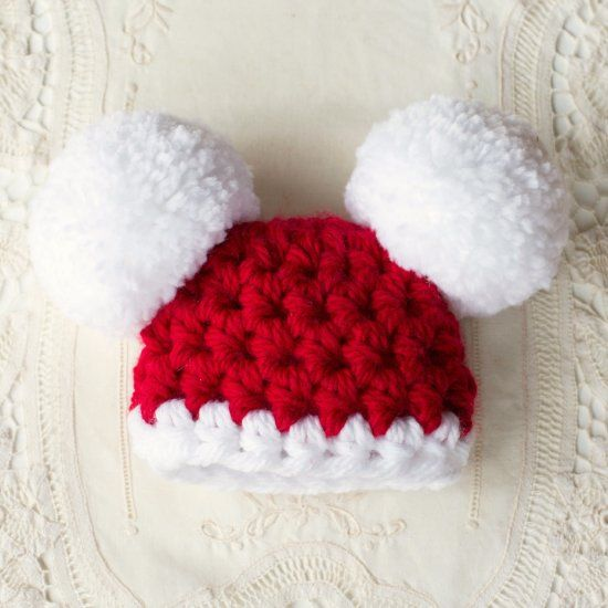 This hat works up quickly, and will look adorable in all the holiday photos this season as baby celebrates his/her first Christmas!