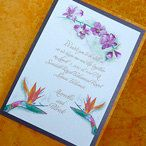 Tropical Birds of Paradise with Orchid Wedding Invitations with RSVP sets. I like the look, they look like watercolor