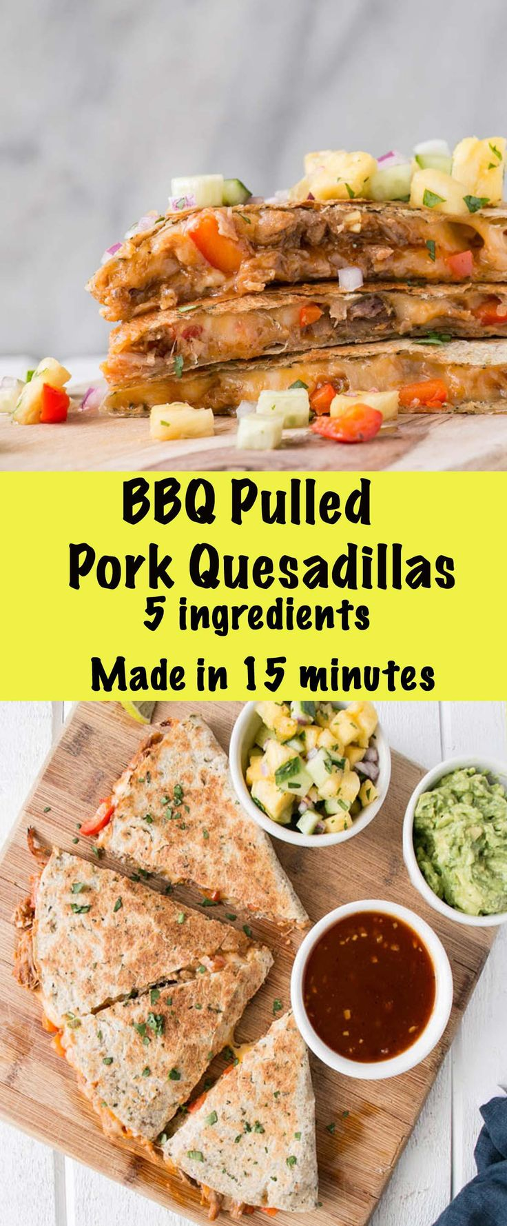 BBQ Pulled Pork Quesadillas are made in just 15 minutes with 5 ingredients!! Weekday dinner win! #ad #MadeLikeHomemade