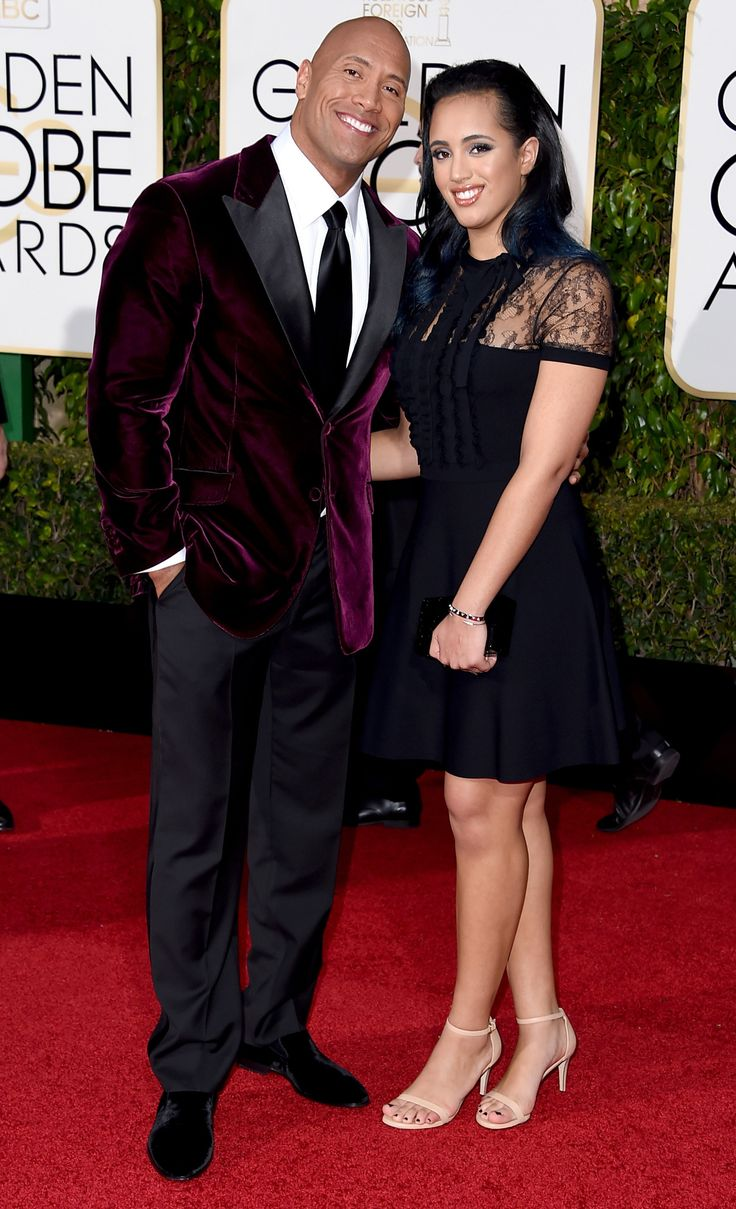 5 Precious Father-Daughter Moments from the 2016 Golden Globes - The Rock and Simone Alexandra Johnson