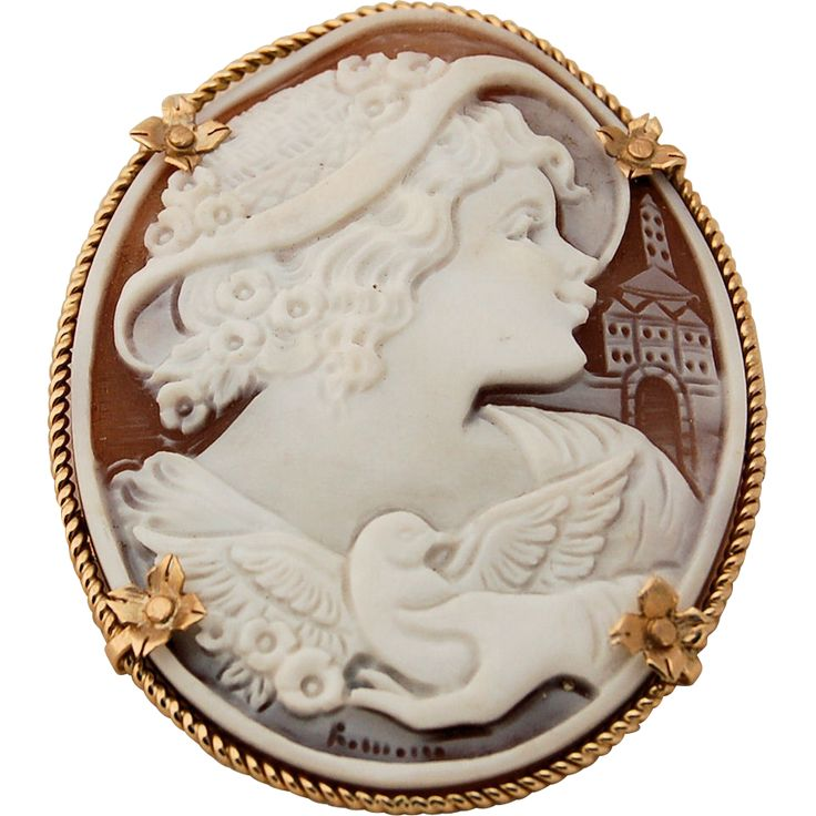 430 best cameo love images on pinterest antique jewellery cameo 14k gold sardonyx shell cameo brooch pendant hand carved artist signed girl in hat with mozeypictures Images