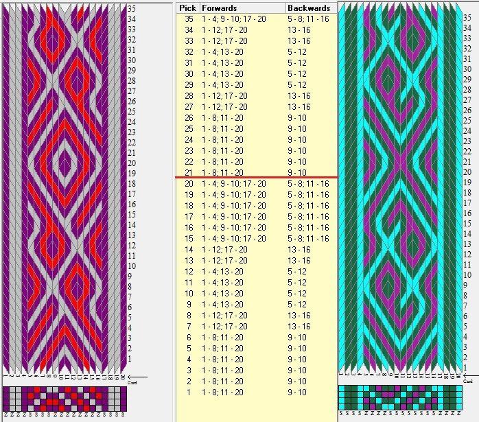 Enhebrados opuestos / 20 tarjetas, 3 colores, repite cada 20 movimientos // sed_1025 diseñado en GTT༺❁