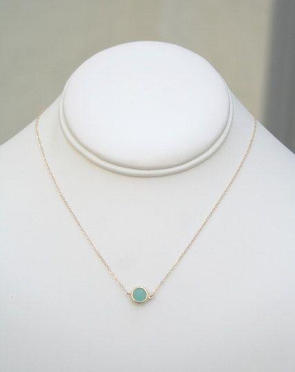 Aqua Necklace in Gold. Minimalist Jewelry. Everyday Necklace.