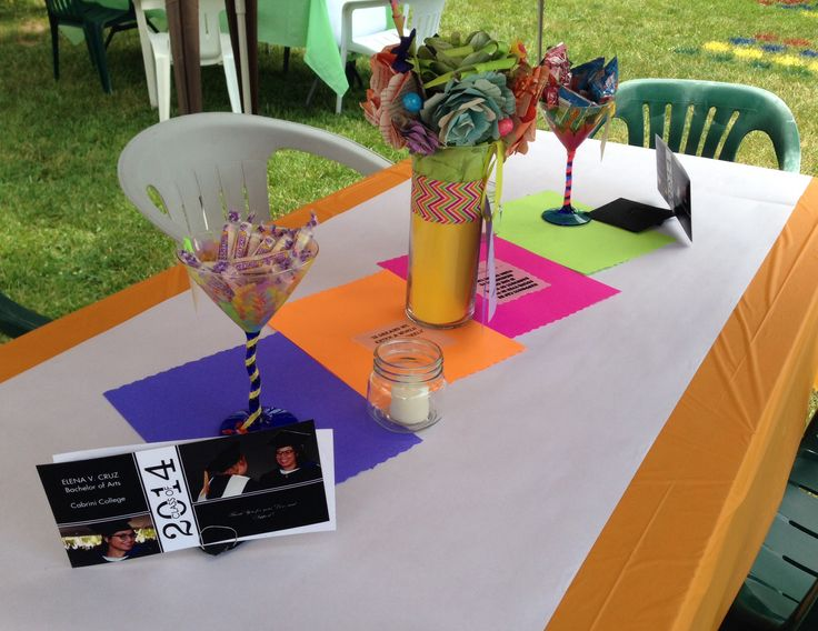 Table set up + we added crayons so kids could have fun writing on the white paper runner!