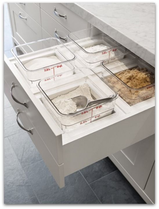 House Hacks - Pull out baking drawer – this is a dream drawer!! With Lids on would be a good way to store them. Maybe a drawer in pantry?