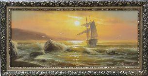 Корабль на закате - Морской пейзаж <- Картины маслом <- Картины - Каталог | Универсальный интернет-магазин подарков и сувениров