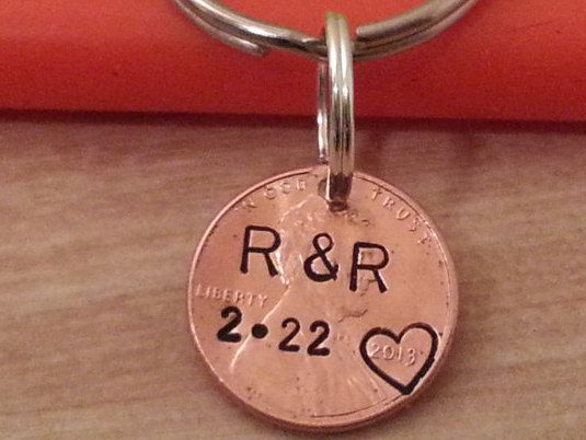 personalized 1 year anniversary keychain penny keychain couple gift 7 year anniversary gift for husband gift for him gift for her custom by TiffysLove on Etsy