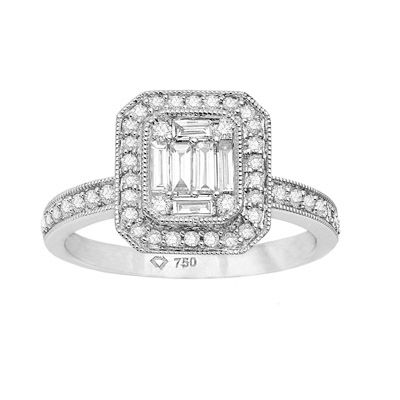 BRILLIANT AND BAGUETTE DIAMOND CLUSTER RING R82404, Temelli Jewellery