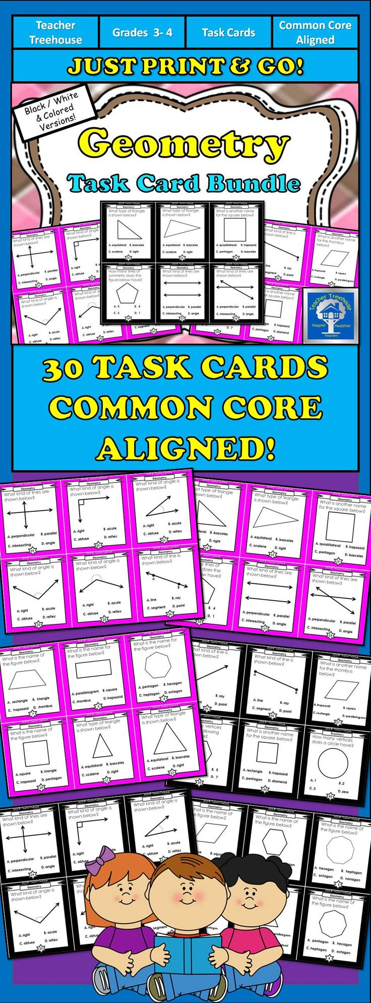 This set of task cards is designed to help your students master intermediate geometry skills and concepts! Students will practice: - Naming shapes and identifying alternative names to common quadrilaterals - Identifying types of triangles (right, equilateral, isosceles and scalene) - Identifying types of lines (parallel, perpendicular, intersecting, ray, line, segment, points) - Identifying types of angles (right, acute, obtuse, reflex) - etc.