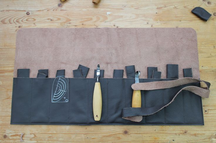 A large 10 pocket spoon carvers tool roll by Bucklehurst Leather
