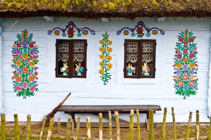 Painted house in Zalipie in Poland.