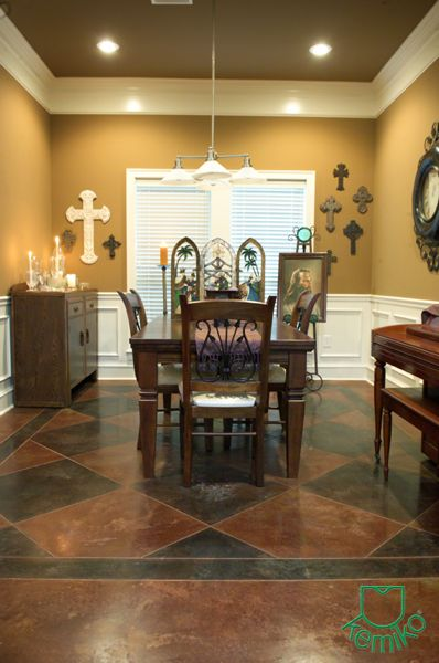 Attractive English Red Stain W/ Black Stain Accents. Clear Wax. Stain And Polish  Concrete