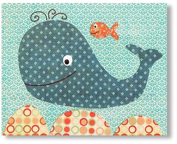 Impresión - de arte náutico ballena vivero - baño azul naranja - childrens niños arte de pared de habitación - cuarto de bebé niño - niños -...