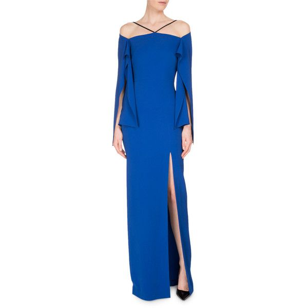 Roland Mouret Cheveley Flutter-Sleeve Strappy Evening Gown featuring polyvore, women's fashion, clothing, dresses, gowns, royal, blue gown, off the shoulder long dress, long blue dress, blue evening dresses and blue ball gown