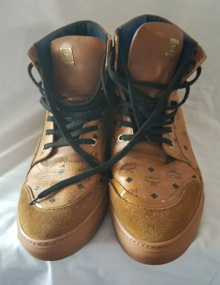 MCM SHOES Visetos Classic Street High-top  COGNAC Athletic Shoe RARE Authentic  #MCM #HiTops
