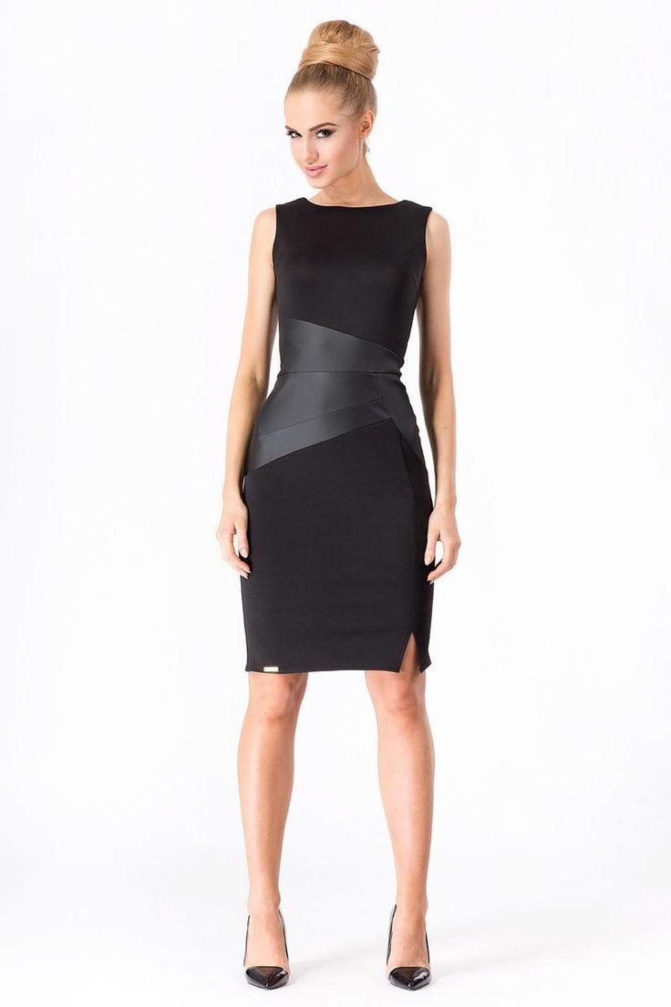 Black Bodycon Dress With Leather