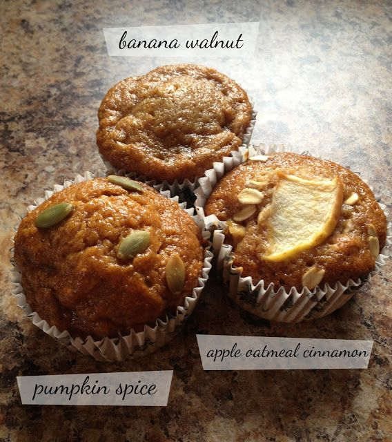 So the base recipe is:   1 cup whole wheat flour   1 tsp baking soda   1/2 cup applesauce (sweetened)   3/4 cup honey  1 tbsp vanilla   2 eg...