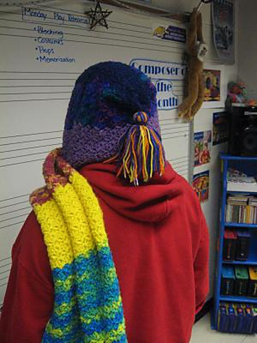 Crocheted sunset scoodie