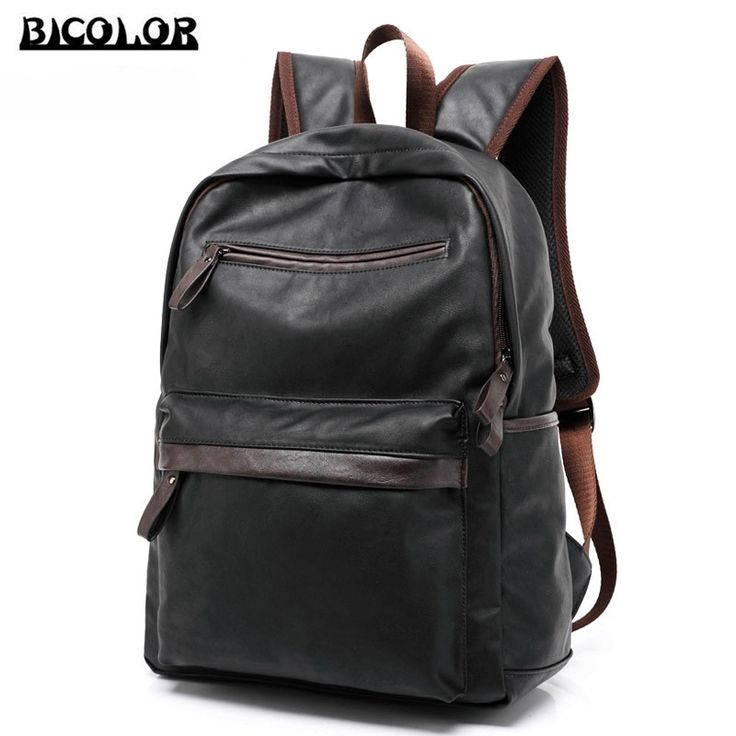 56.95$  Buy here - http://alisd7.worldwells.pw/go.php?t=32752425959 - BICOLOR 14.1 to 17 Inch Laptop Bag Backpack Men Large Capacity High Quality PU Compact Men's Backpacks Unisex Women Bagpack New