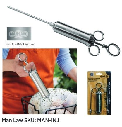 The MAN-INJ is shipping to store in a short couple weeks, keep on the look out and be the first to try it out! This unit has a 2 ounce capacity with 2 tips for different applications/meats.  #ManLawBBQ #INJ #Injector #ManLawInjector #BetheFirst #mansonlychoice #bbq #bbqtools #man #followthelaw #obeythelaw #grilling #grillingtools #outdoorgrilling #GrillLife #grillofalifetime #manmeatbbq #grillon #barbecue #barbeque #GrillAllYear #grill #outdoorliving  www.ManLawBBQ.com