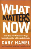 In What Matters Now, author Gary Hamel presents compelling reasons to change the management model of the 20th century in order to succeed in the 21st century. The traditional management style has grown outdated and is incapable of producing an organization that can compete in a highly-competitive global marketplace that requires constant change and continuous innovation. Most companies focus primarily on the present, and embrace consistency, top-down control, and profits at any cost.