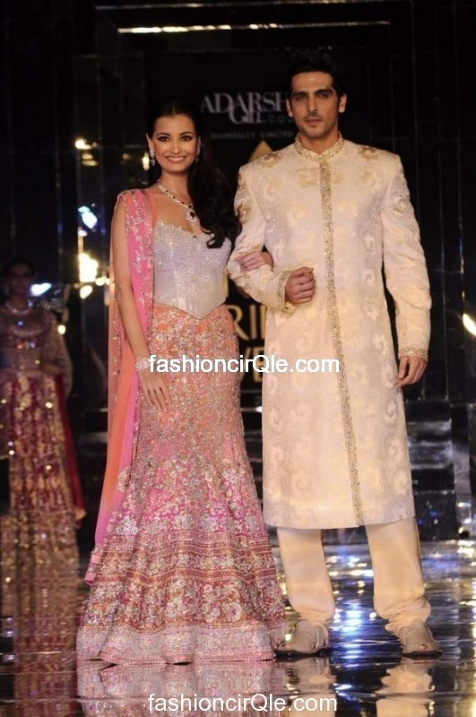 Actors Dia Mirza @deespeak & Zayed Khan walk d ramp 4 Adarsh Gill at India #Bridal Week 2011 in Lehenga & Sherwani #Wedding Ensemble; via @alihuda1992
