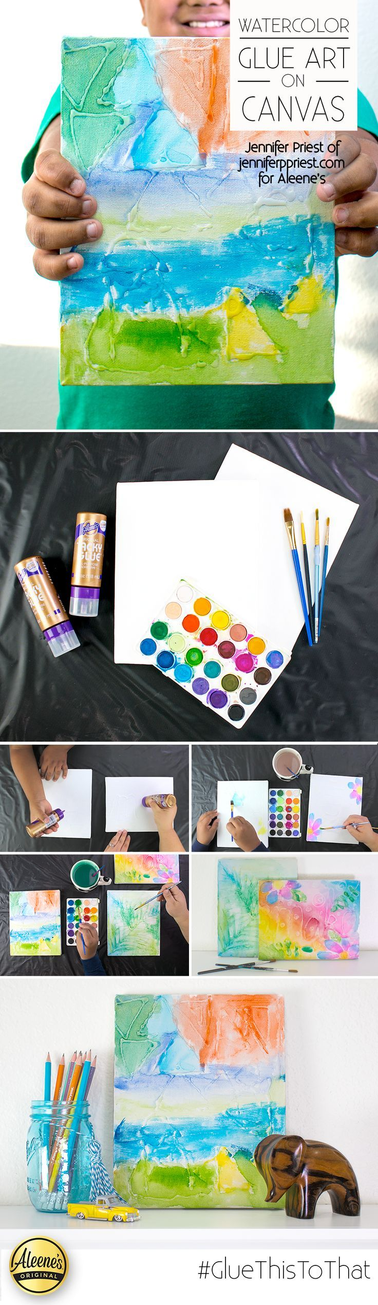 Make watercolor art EASY! Draw patterns on canvas with Aleene's Tacky Glue. Let dry COMPLETELY. Then paint with watercolors! Add lettering, word art, geometric patterns, and botanicals for different looks. Such a fun kids craft PLUS makes a great DIY gallery wall!